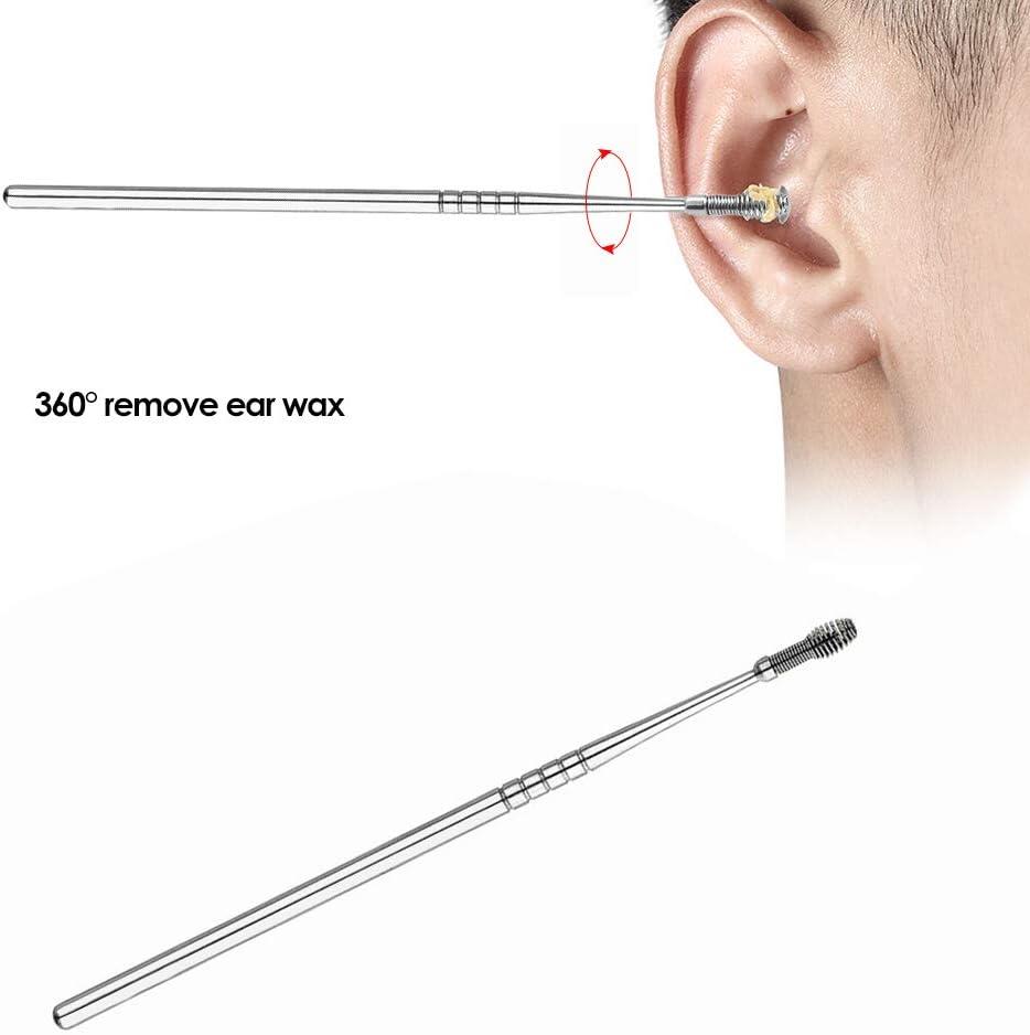 Anself Escoger el o/ído Cavar el o/ído Cuchara de oreja Cera Limpiador del removedor del o/ído Espiral de acero Herramienta de limpieza Earpick