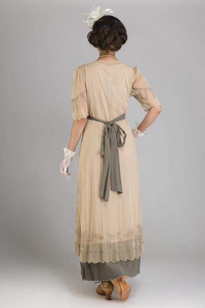 Nataya 40007 Women's Titanic Vintage Style Sage Dress (Medium)