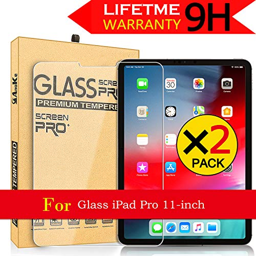 AnoKe [2-Pack] for Apple iPad Pro 11 inch Screen Protector,Anti-Scratch, HD Clear Premium Tempered Glass Screen Protector with Lifetime Replacements Warranty for iPad Pro 11(2018 Release) - 2 Pack