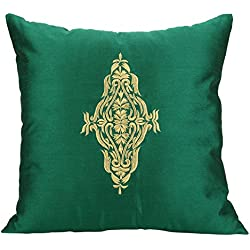The White Petals Damask Decorative Pillow Cover - Emerald Green Gold Throw Pillow Cover - Embroidered Accent Pillows For Couch & Bed (Emerald Green, 16x16 inches)