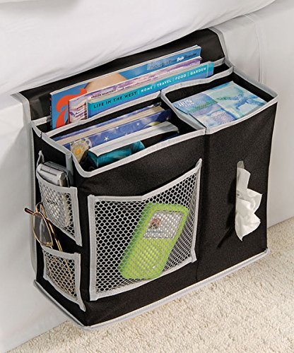 Bedside Storage Organizer - 6 Pocket Bedside Caddy Storage – For Dorm Rooms, Home, and Hospitals - Organizers for Books, Phones, Tablets, Accessories, TV Remote and More