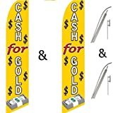 Twin Pack Swooper Flags & Pole Kits Cash For Gold Money Dollar Signs