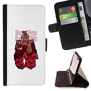 KingStore / Leather Etui en cuir / Apple Iphone 5 / 5S / Guantes de boxeo del gorila