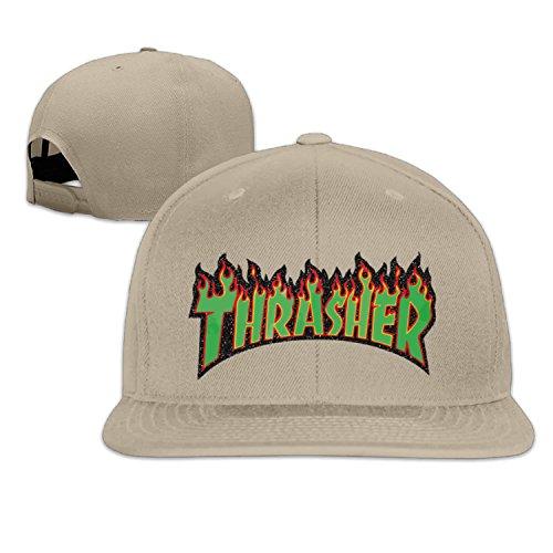 - Unisex Green Thrasher Flame Logo snap-back flat brim hat LightGrey