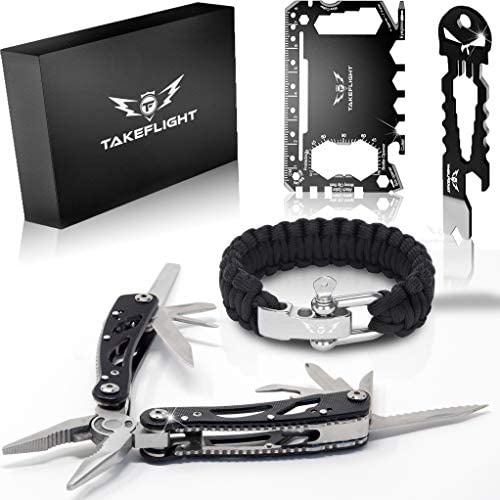 Multi Tool Survival Gear Kit Father s Day or Birthday Gift for Men Tactical Gear Gift Set w Multitool Knife, Paracord Bracelet, Credit Card Tool Cool Gadgets for Men, Christmas Stocking Stuffer