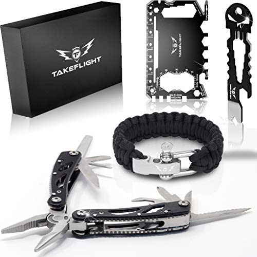 Multi Tool Survival Gear Kit - Father's Day or Birthday Gift for Men | Tactical Gear Gift Set w/ Multitool Knife, Paracord Bracelet, Credit Card Tool | Cool Gadgets for Men, Christmas Stocking Stuffer