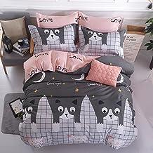 """KFZ Bed Set 4pcs Kids Beddingset Duvet Cover Set Duvet Cover No Comforter Flat Bedsheet Pillowcase Queen Set Small Cute Cat Design for Kids Teens Sheets Set (Small Love Cat, Grey, Queen, 79""""x91"""")"""