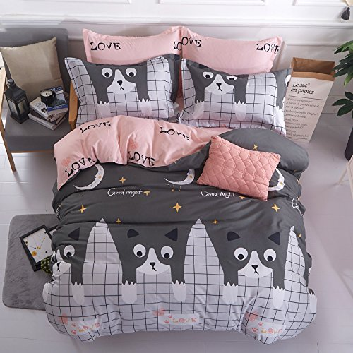 "Price comparison product image KFZ Bed SET 4pcs Kids Beddingset Duvet Cover Set Duvet Cover No Comforter Flat Bedsheet Pillowcase Full Set Small Cute Cat Design for Kids Adults Teen Sheets Set (Small Love Cat, Grey, Full, 71""x86"")"