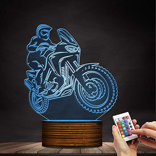 Novelty Lamp, 3D LED Lamp Optical Illusion Motorcyclist Night Light, USB Powered Remote Control Changes The Color of The Light Birthday Gift Decoration Baby Boy Girl Child,Ambient Light by LIX-XYD (Image #5)