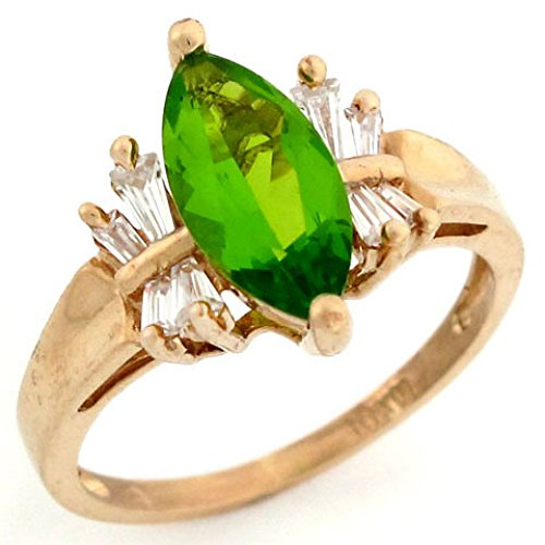 Baguette Peridot Ring - 10k Solid Gold Simulated Peridot August Birthstone CZ Baguette Ring