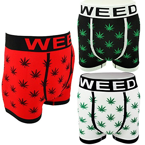 Mens-Novelty-Boxer-Shorts-Briefs-Trunks-Underwear-WEED-LEAF-3-pack-or-Single