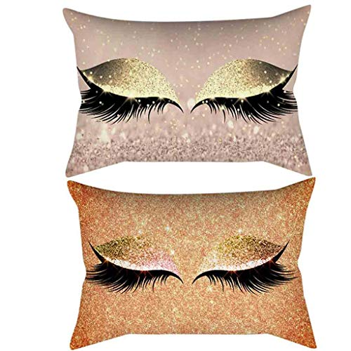 (LYN Star ♪ Bronzing Flannelette Home Pillowcase Decorative Cushion Cover Eyelashes Letters Lash Out Covers Set Bedroom)