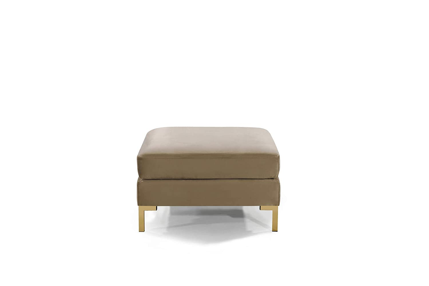 Iconic Home FON9252-AN Girardi Modular Chaise Ottoman Coffee Table Cushion Velvet Upholstered Solid Gold Tone Metal Y-Leg Modern Contemporary Black