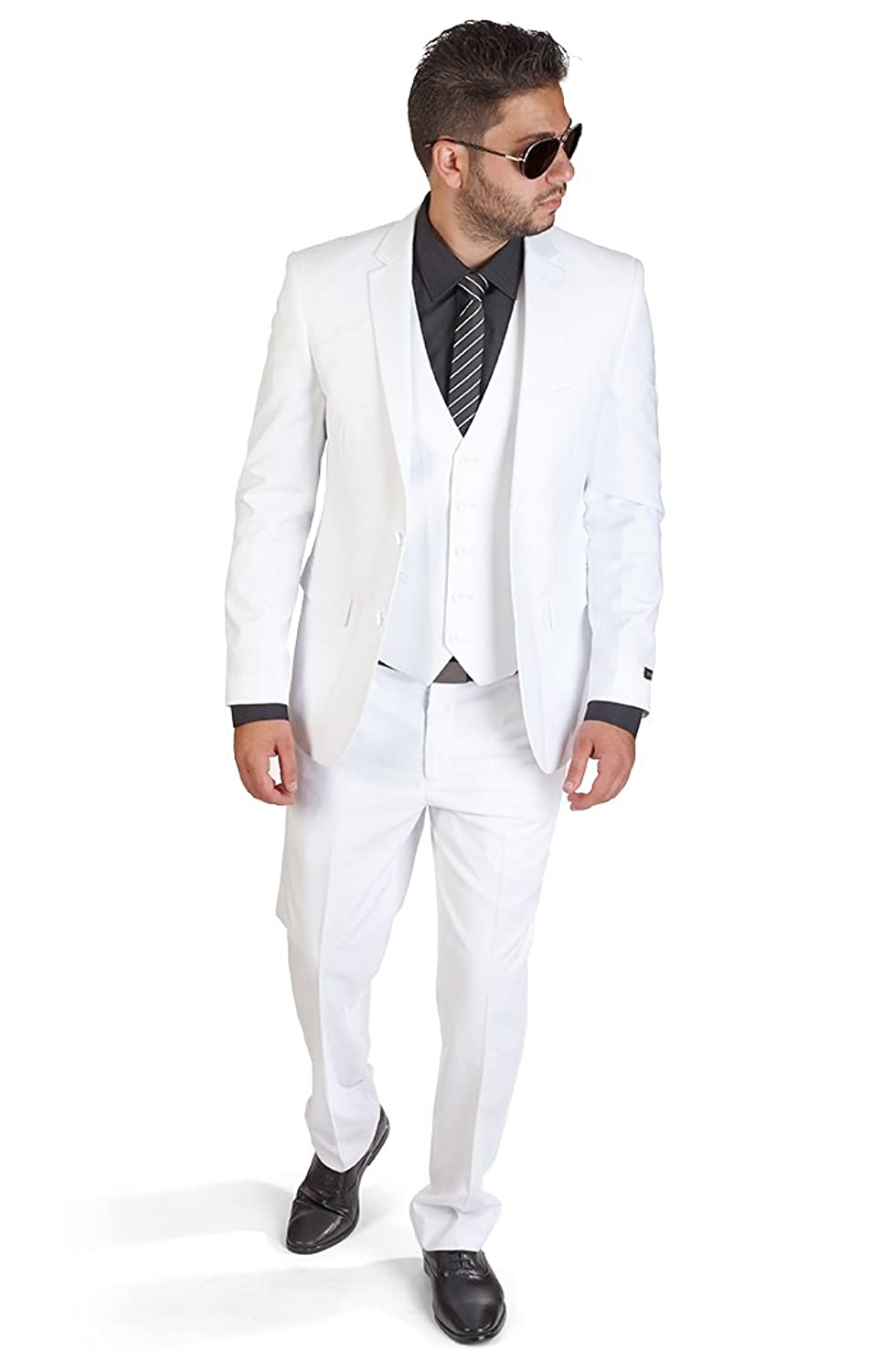AZAR MAN Slim Fit 3 Piece White Suit at Amazon Men\'s Clothing store: