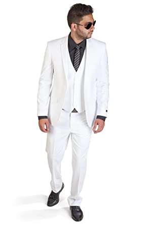 Slim Fit 3 Piece White Suit at Amazon Men's Clothing store: