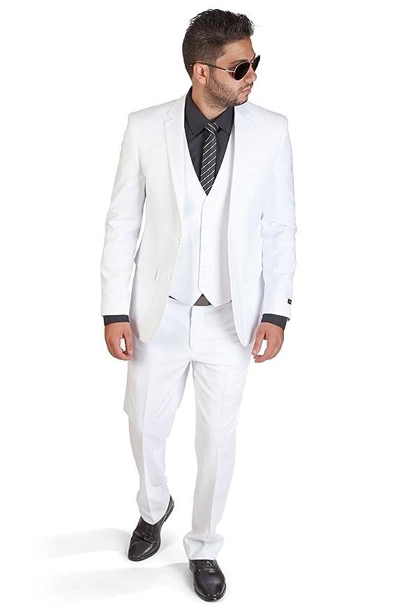 Slim Fit 3 Piece White Suit at Amazon Men's Clothing store: