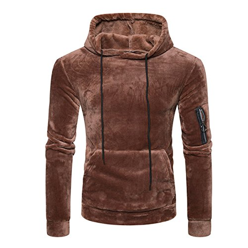 311d2e3edd71b YFFUSHI Men s Coral Velvet Pullover Hooded Casula Warm Horn Button  Sweatshirt high-quality
