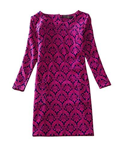 Exquisite Silk Dresses (J.cotton Autumn /Winter Floral Print Long Sleeve Boat Neck A-line Midi Casual Dress ( USXL/Asian 4XL, J-D-6))