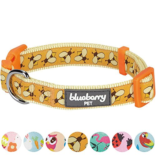 Blueberry Pet 7 Patterns Statement Busy Bees Designer Dog Collar, Small, Neck 12