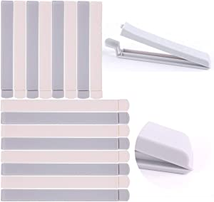 Bag Sealing Clips set of 16 Pack for Uneaten Food in Bags Clips with Strong Grip, Keep Your Food Fresh, Easy to Use, Can be Reused, White and Grey(4.9in, 6.3in).