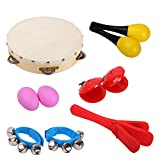 CAHAYA Percussion Sets Enlighten Toys with Tambourine Bells Maracas Castanets Hand Bell Ankle Bell Egg Shaker for Toddles
