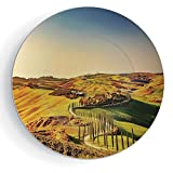 iPrint 8'' Italy Ceramic Decorative Plates Tuscany Crete Senesi Rural Landscape Cypress Trees Country Farmland Europe Decorative
