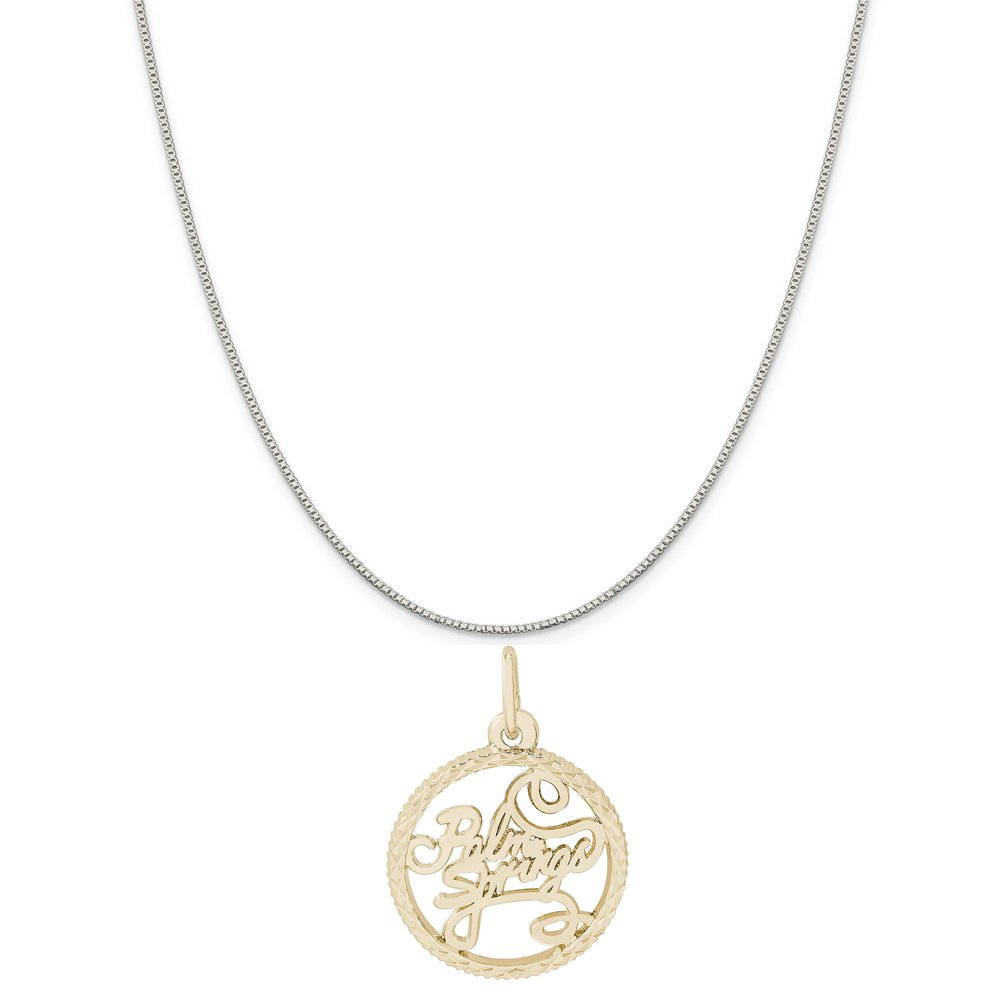 Box or Curb Chain Necklace Rembrandt Charms Two-Tone Sterling Silver Palm Springs Disc Charm on a Sterling Silver 16 18 or 20 inch Rope