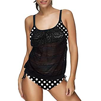 Coolloog Womens Lace Printed Tankini Swimwear Two Piece with Printed Panty Bathsuit Swimsuits