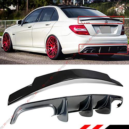 - Fits for 2008-2011 Mercedes Benz W204 C250 C300 C63 AMG Big Shark Fin Carbon Fiber Lower Bumper Diffuser + Trunk Spoiler