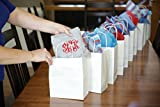"""50 Count - White Kraft Paper Bags with Handles - Perfect Solution for Baby Shower, Birthday Parties, Boys and Girls Gifts, Shopping, Restaurant takeout and Shop Owners - Size (8""""x4.75""""x10"""")"""