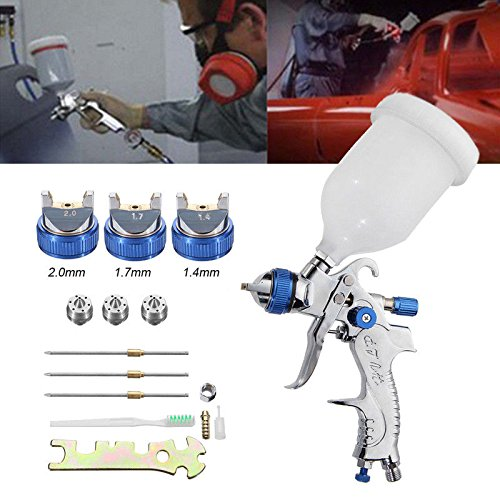 FidgetFidget Paint Air Spray Gun Kit 1.4MM~2.0MM Car Nozzle HVLP Auto Gravity Feed Primer New