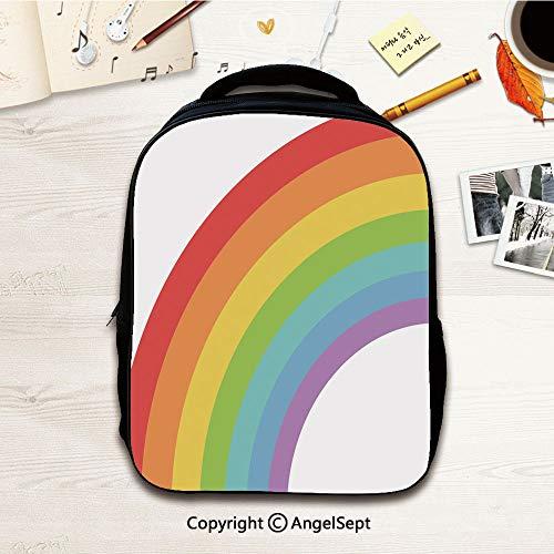 Kindergarten School Bag,Colorful rainbow spectrum,12.2