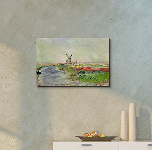 Tulip Field in Holland by Claude Monet Print Famous Painting Reproduction