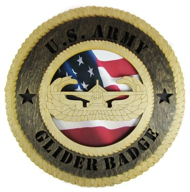 Army Glider Badge Laser Cut Military Wall Plaque with American Flag ()