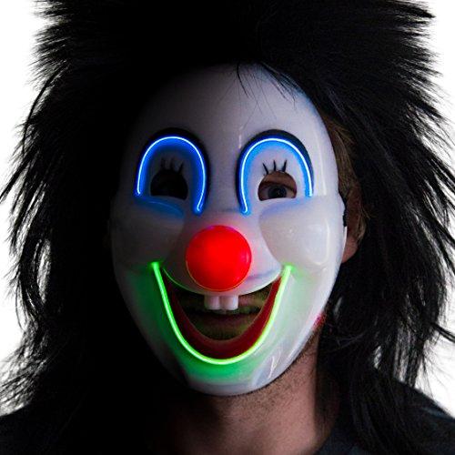 Neon Nightlife Men's Light up Sarcatic Clown Happy Face Mask, Blue and Green