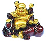Laughing Buddha with Children - Gold and Red - Rst042