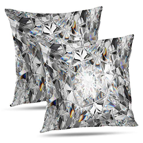 (LALILO Set of 2 Throw Pillow Covers, Diamond Bling Bridal Bouquet Jewels Double-Sided Pattern for Sofa Cushion Cover Couch Decoration Home Gift Bed Pillowcase 18x18 inch)
