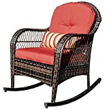 Sundale Outdoor Wicker Rocking Chair Rattan Outdoor Patio Yard Furniture All- Weather with Cushions (Red)