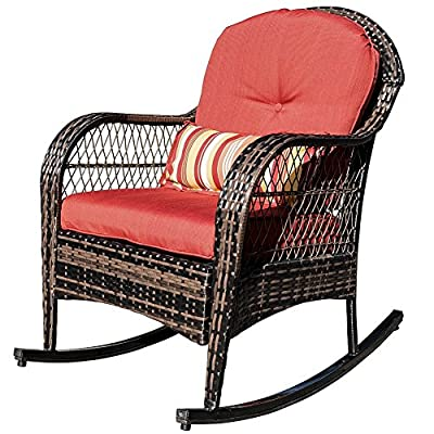 Sundale Outdoor Wicker Rocking Chair Rattan Outdoor Patio Yard Furniture All- Weather with Cushions (Red) - Tools provided, Fabric: stain-resistant, water-repellant and treated 280g Olefin cushions and Polyester pillows All-weather wicker - unlike natural wicker, all weather wicker is stain, water, crack and split resistant. Double flat wicker weave for added comfort and durability. - patio-furniture, patio-chairs, patio - 51R oWeb cL. SS400  -