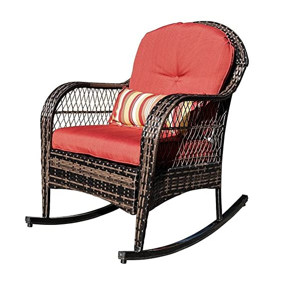 Sundale Outdoor Wicker Rocking Chair Rattan Outdoor Patio Yard Furniture All- Weather with Cushions (Red) - Tools provided, Fabric: stain-resistant, water-repellant and treated 280g Olefin cushions and Polyester pillows All-weather wicker - unlike natural wicker, all weather wicker is stain, water, crack and split resistant. Double flat wicker weave for added comfort and durability. - patio-furniture, patio-chairs, patio - 51R oWeb cL. SS570  -