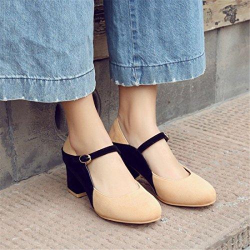 Zapatos Corrector de Zapatos Primavera Tacón Alto Satinado Apricot Otoño Zapatos La Talón de y Color Sra Mujer de 0W0w68rq4