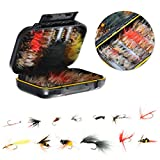 FISHINGSIR Fly Fishing Flies Kit- 64/100/120pcs Handmade Fly Fishing Lures-Dry/Wet Flies,Streamer, Nymph, Emerger with Waterproof Fly Box from OneStone