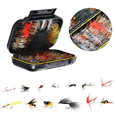 64/100/120PCS Fly Tying Material Fly Fishing Flies, Assorted Trout Fly Fishing Lure with Double Side Waterproof Pocketed Fly Box