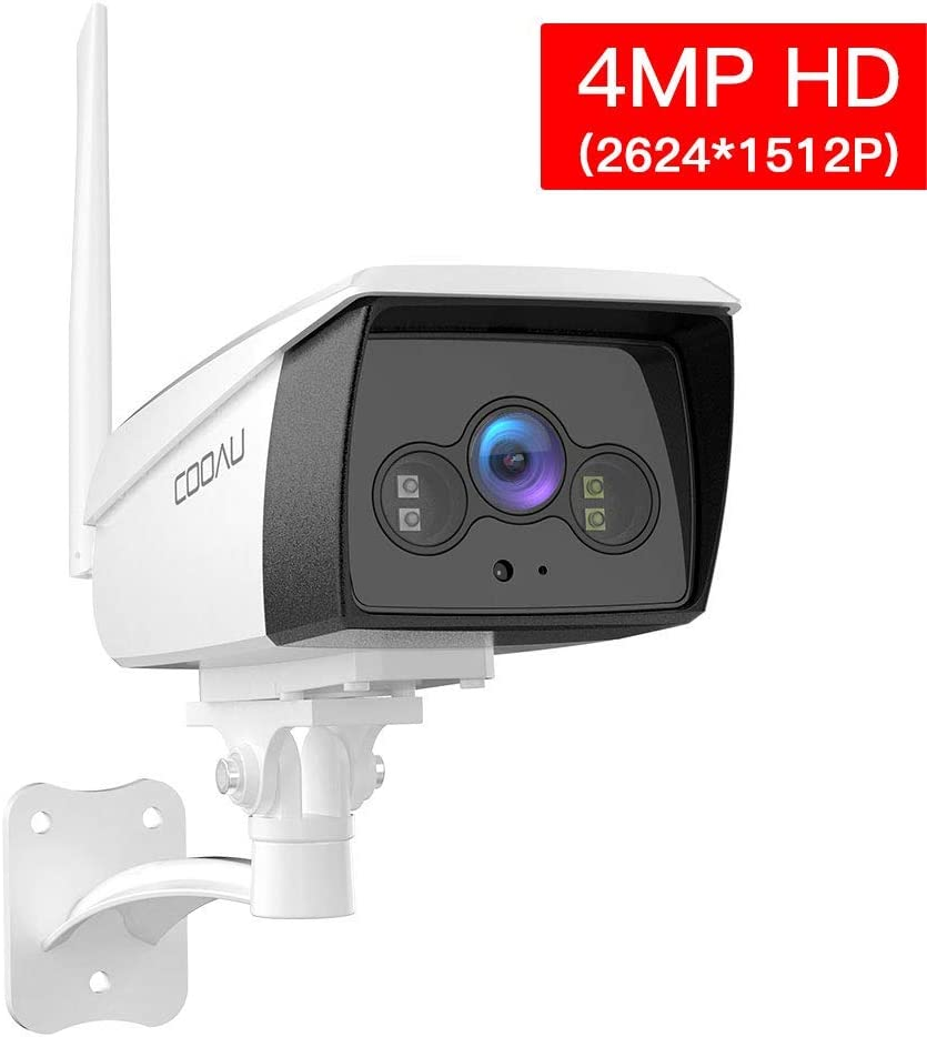 COOAU 4MP HD Outdoor Security Camera, Bullet Surveillance 5dBi WiFi IP CCTV Camera, IP66 Waterproof with Night Vision, White Light, Motion Detection, Two-Way Audio, Support Cloud Service& Alexa