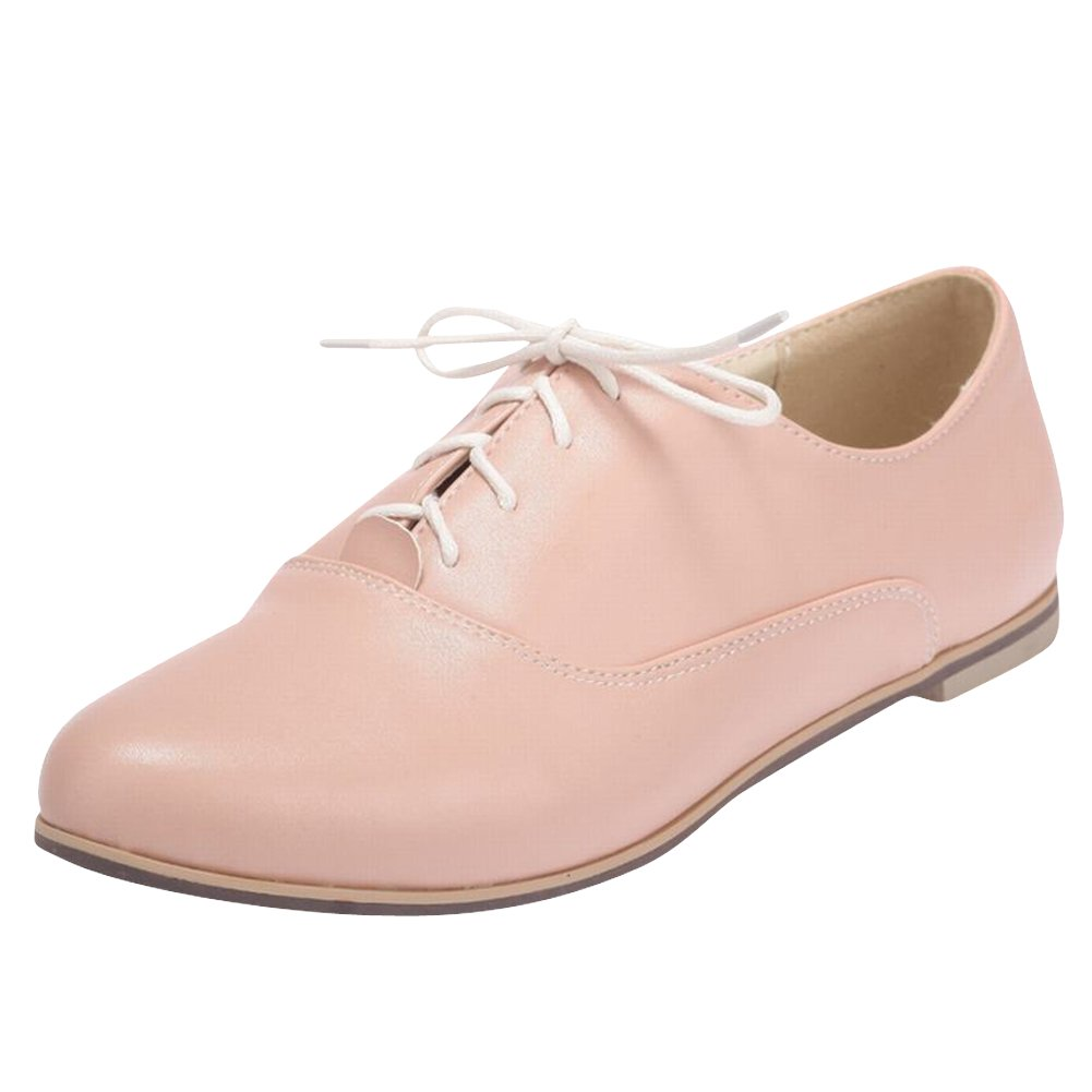 Carol Shoes Comfort Women's Lace-up Sweet Fashion Casual Cute Flats Oxfords Shoes (10.5, Pink)