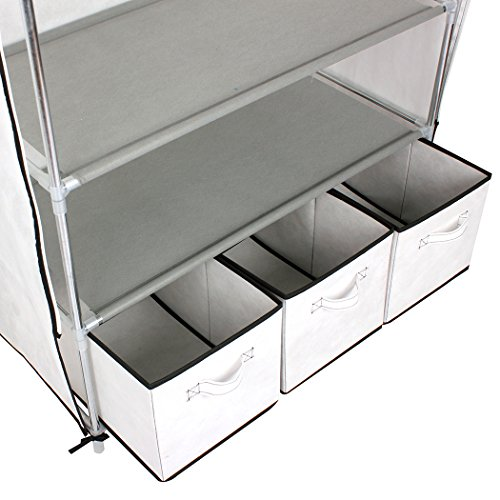 ASSICA-Portable-Clothes-Closet-Rolling-Door-Wardrobe-Sturdy-Rust-Proof-Stainless-Steel-Frame-Non-woven-Fabric-Storage-Organizer-with-Three-Drawer-Boxes