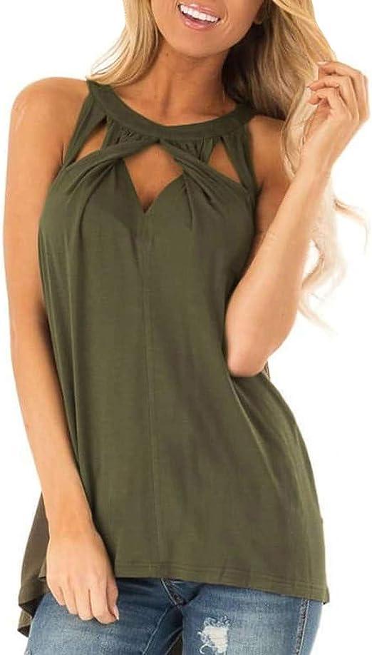 Guobin Camisetas Mujer Sin Mangas Camisas Mujer Verano 2019 Elegantes Color Liso Cuello Colgando Sexy Casual Basica Originales Blusas Tops Camiseta Lencera Camisolas: Amazon.es: Ropa y accesorios