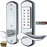 Elemake Keyless Door Lock Mechanical Right Handed Keypad Entry Accent Lever Lock Stainless Steel Backset 2 3/8-Inch & 2 3/4-Inch HKD