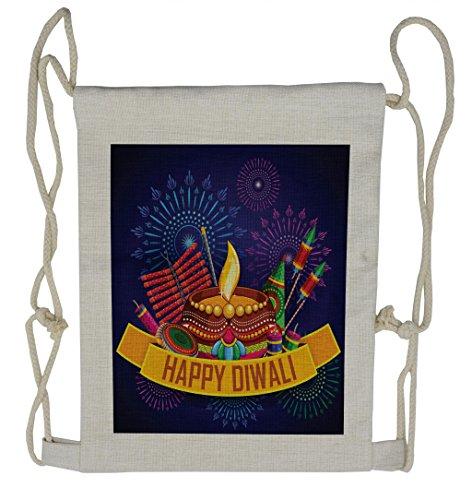 Lunarable Diwali Drawstring Backpack, Ethnic Festival Arrangement, Sackpack Bag by Lunarable