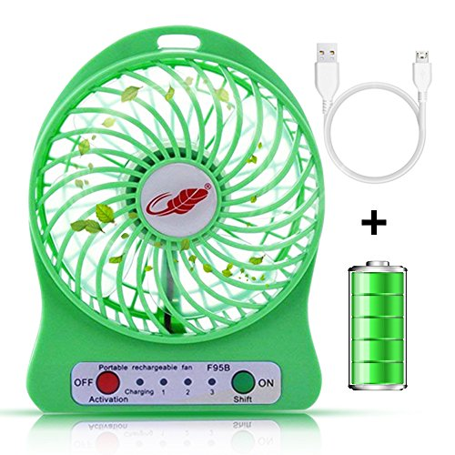 Portable mini usb Fan, Spruce mini usb rechargeable fan with 2200mAh Battery Operated and Flash light,for Traveling,Fishing,Camping,Hiking,BBQ,Baby Stroller,Picnic,Biking,Boating by Spruce & Co